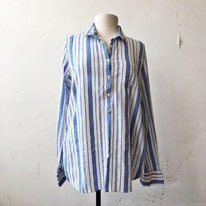 J.Crew | Tall Stripe Cotton Blue & White Popover